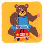 『く』クマ bear 「車に乗ったクマ」