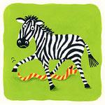 『し』シマウマ zebra 「シマウマの下をシマシマへびが通る」