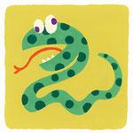 『へ』ヘビ snake「へん顔して遊ぶヘビ」