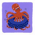 『た』タコ octopus「タイヤの上げ下げで体力アップのタコ」