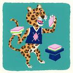 『ひ』ヒョウ leopard「ひし形柄のベスト着たヒョウ君は、ひし餅大好き」