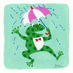 『か』カエル frog 「傘さしてカエルが帰る」