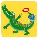 『わ』[ɰa] ワニ crocodile「輪投げをして遊ぶワニくん」
