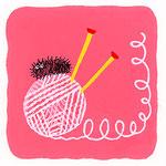 『け』ケムシ caterpillar 「毛糸に乗っかるケムシ」