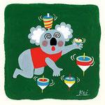 『こ』コアラ koala「 コマ遊びで、困ったコアラ」