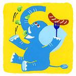 『そ』『ぞ』ゾウ elephant「空豆とソーセージ食べてるゾウ」