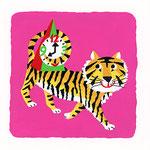 『と』トラ tiger 「とんがり頭の時計がお気に入りのトラ」