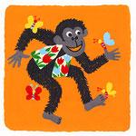 『ち』チンパンジー chimpanzee「蝶々と踊るチューリップ柄ベスト着たチンパンジー」