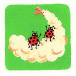 『て』てんとう虫 ladybug「天ぷらの天辺目指すてんとう虫」