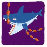 『ほ』ホオジロザメ the great white shark「干し柿大好きなホオジロザメ」