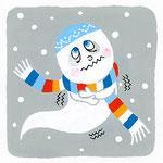 『ゆ』[jɯ] ゆうれい ghost「雪の中で憂うつな顔のゆうれい」