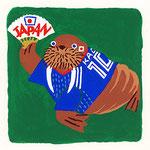 『せ』セイウチ walrus 「扇子で応援しているセイウチ」