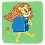 『ら』[ra] ライオン lion「ランドセルがお気に入りのライオン」