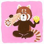 『れ』[re] レッサーパンダ red panda「レンコンとレモンの切り口似てるなぁと思うレッサーパンダ」