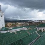 Blick auf das grüne Dach der Großen Moschee