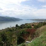Fantastischer Blick von der Hotelterrasse hinunter auf die Donau