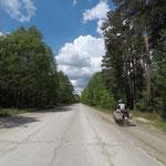 Tommes macht´s vor - neben der Straße fährt sich am sichersten