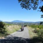 Vor uns der Mont Ventoux, den wir am nächsten Tag erkunden werden