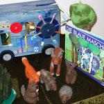 Spielstunde für einen Kindergarten -Thema: Die blaue Maschine