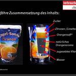 Bildanschauung über Nahrungsinhalt der Verbraucherzentrale Hamburg (CapriSonne)