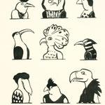 """""""Wir Vögel"""" Schwarze Tusche 2013"""