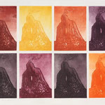 Prometheus-82  1982   (Teil des Mappenwerkes: Grafik-Texte-Kompositionen zum 150.Todestag von J.W.Goethe)  Farbaquatinta   49,1cm x 64,7 cm