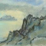 Teneriffa Santiago-Blick auf Gomera 2008  /schwarze Tusche/Guache/Pastell  /  23,7 x 32cm