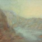 Norwegen-Fjordlandschaft mit Wasserfall  2012  Guache  /  45 x 59cm