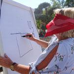 Blind eine schöne Zeichnung malen und erraten, was es sein soll