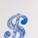 $ Sign, Silkscreen on paper, 56,5 x 88 cm, 1982 / unique // stamped on verso by  Andy Warhol Art Authentication Board, Inc.