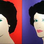 PORTRAIT OF A LADY, (red / purple) Polymer paint on canvas, 2 x 101,6 x 101,6 cm, 1982 / unique