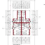 Bauantrag, Abgeschlossenheit, Entwässerung: Grundriss EG - Neubau von 4 Einfamiliengruppenhäusern mit 6 PKW- Stellplätzen, Erkrath