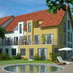 Bauantrag, Abgeschlossenheit, Entwässerung: Neubau von 4 Einfamiliengruppenhäusern mit 4 PKW-Garagen, Krefeld
