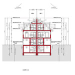 Bauantrag, Abgeschlossenheit, Entwässerung: Schnitt- Neubau von 4 Einfamiliengruppenhäusern mit 6 PKW- Stellplätzen, Erkrath