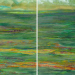 Lotus Lake 2, 2013, diptych, oil and acrylic on canvas, 40 x 100 cm