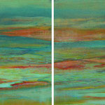 Lotus Lake, 2013, diptych, oil and acrylic on canvas, 40 x 100 cm