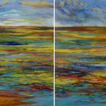 Morgen Land, 2013, diptych, oil and acrylic on canvas, 80 x 160 cm