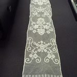 Linen filet worked curtain. 300 x 55 cm. Three identical curtains. €120 each. Linen