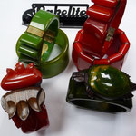 Bakelite clamper bangles. Hand-carved, rosewood and bakelite.