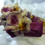 Velvet pansies and satin