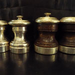 Sterling Silver pepper mill and salt, wood and Sterling Silver pair