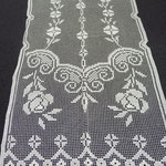 Linen filet worked curtain. 300 x 55 cm. One only. €120