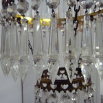 SOLD French chandelier, glass and crystal. All pieces intact 57 cm hoch, 33 cm Durchmesser. Preis €1200