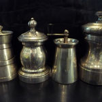 Sterling and Continental Silver pepper mills, gepunzt