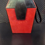 Art Deco Lederboxtasche, tief pink & schwarz VERKAUFT/SOLD !