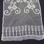 Linen filet worked curtain. 300 x 55 cm. Three identical curtains. €120 each. Linen
