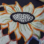 Superb linen cloth, art nouveau. All hand embroidered. Richelieu. 88 x 37 cm. €130