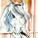 """""""No Smoking Here (Some Horses)"""", 30 x 40 cm, markers on paper, 2014"""