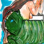 Disposable Green Monstrous Cat, acrylic, FFP2, watercolor on paper, 30 x 40 cm, 2021