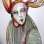 """Selfie"", 30 x 40 cm, markers on paper, 2015"
